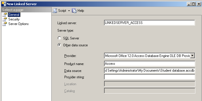 Linked Server with Access 2007 Database | Learn SQL With