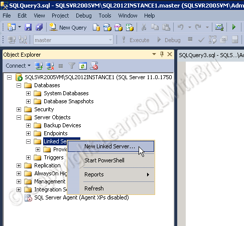 Create Linked Server to connect to another SQL Server Part – I